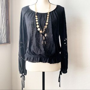 Free People X Black Top with Cut Out Designs